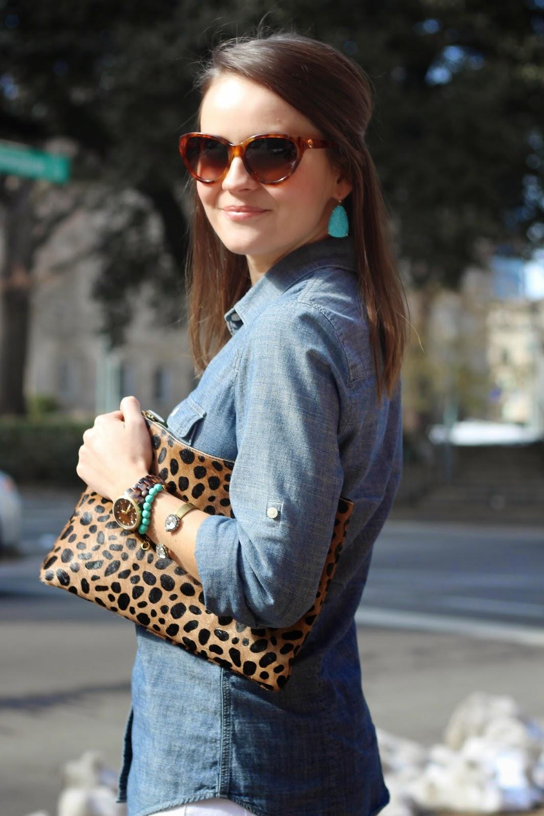 clare v leopard clutch