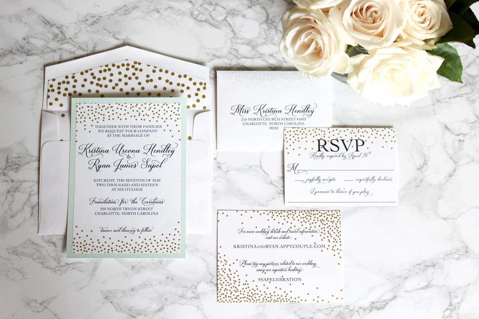 Mint And Gold Wedding Invitations With Elle Dee Designs