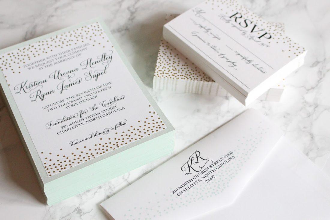 mint and gold dot wedding invitations, wedding invitations