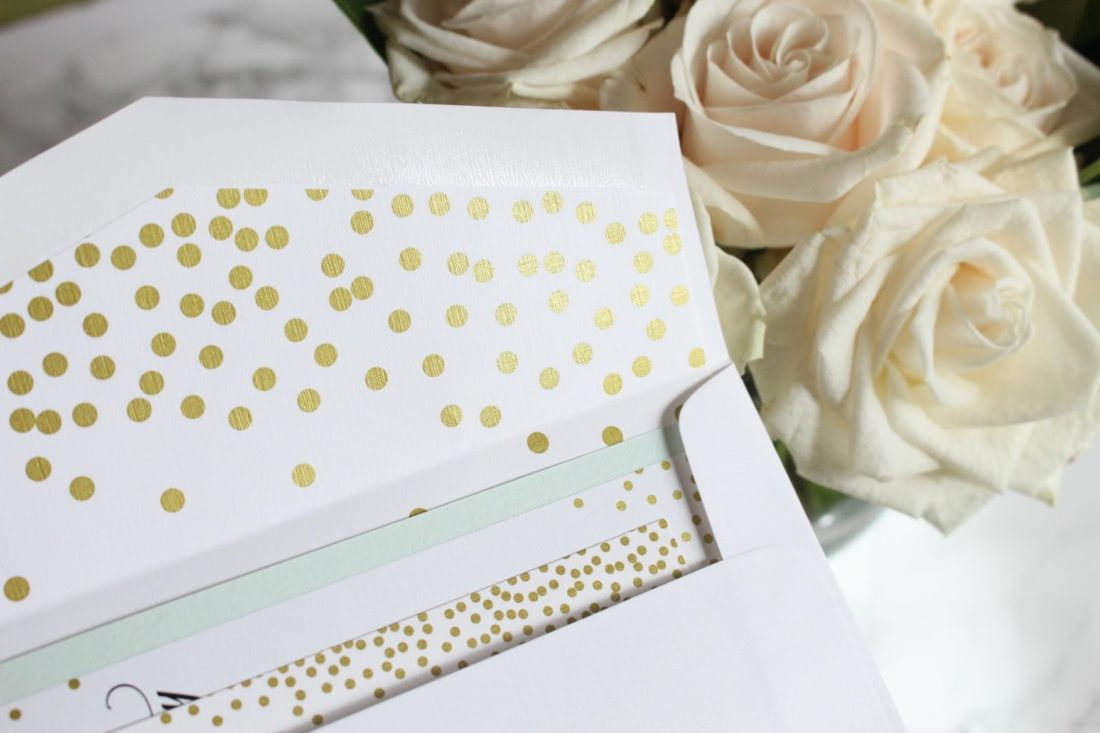 metallic ink wedding invitation, wedding invitation envelope liner, dots envelope liner
