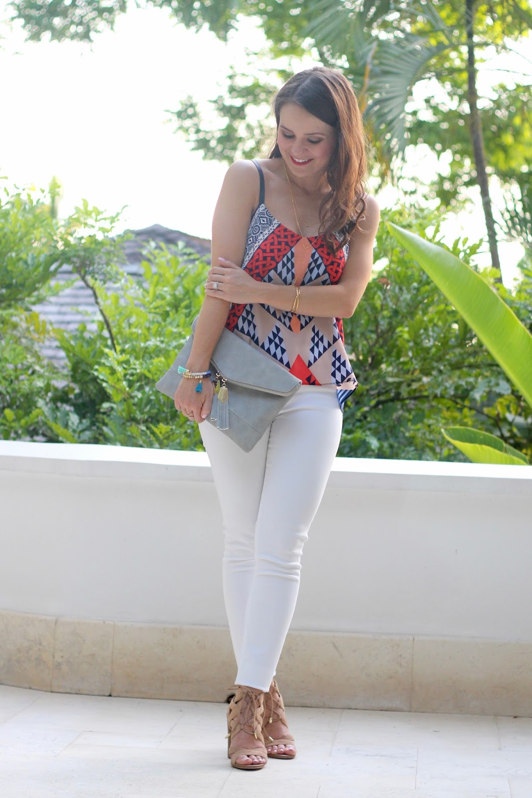 vacation outfit, grey tassel clutch