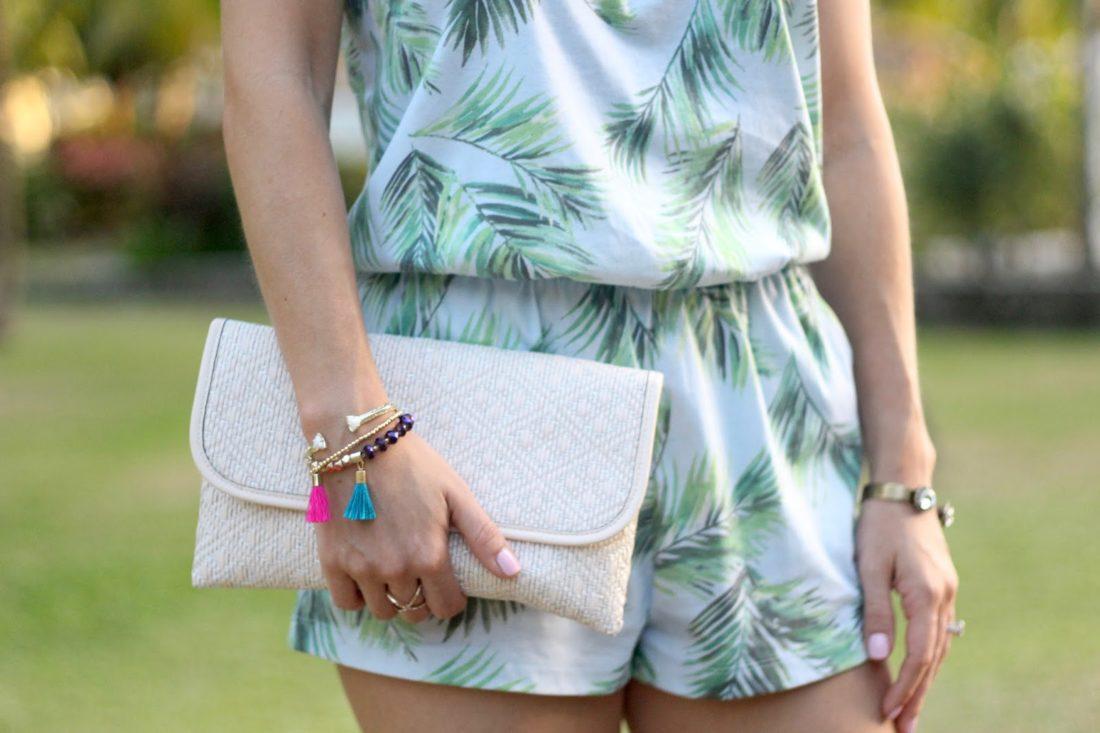 palm print romper, tassel bracelet