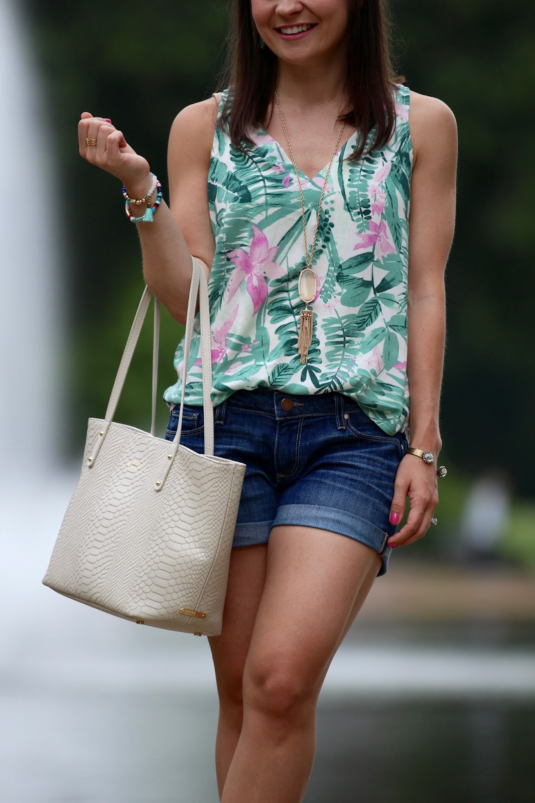 palm print top denim shorts