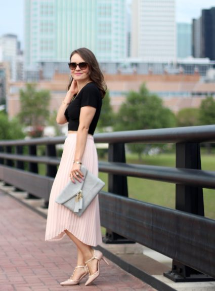 Blush Pleated Midi Skirt