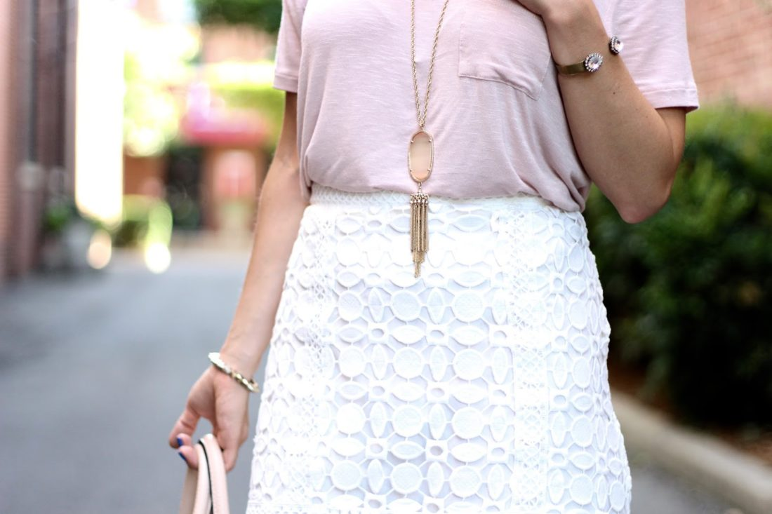 Topshop geometric lace a-line skirt
