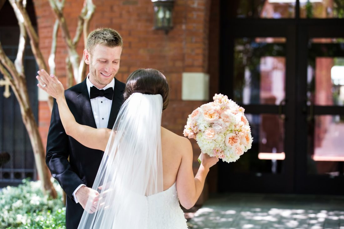 uptown charlotte wedding, wedding first look