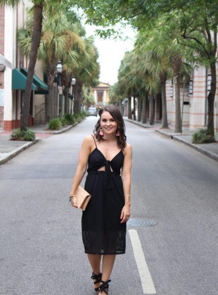 Front-Tie Midi Dress