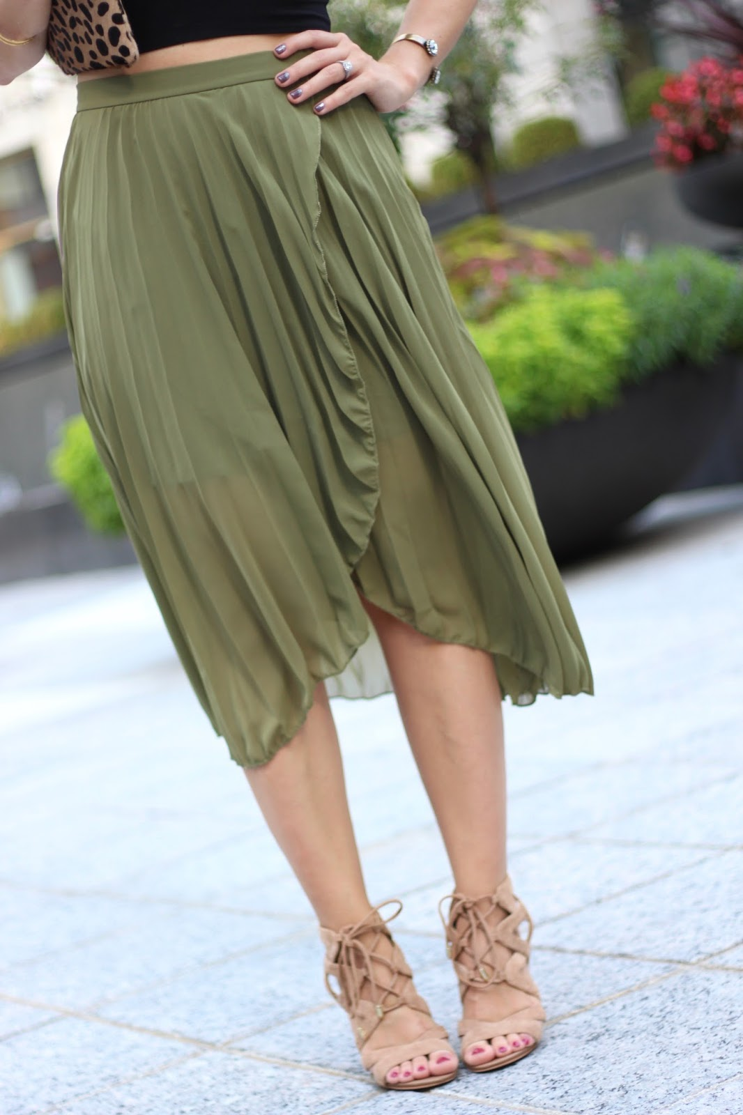 ASOS olive pleated midi skirt