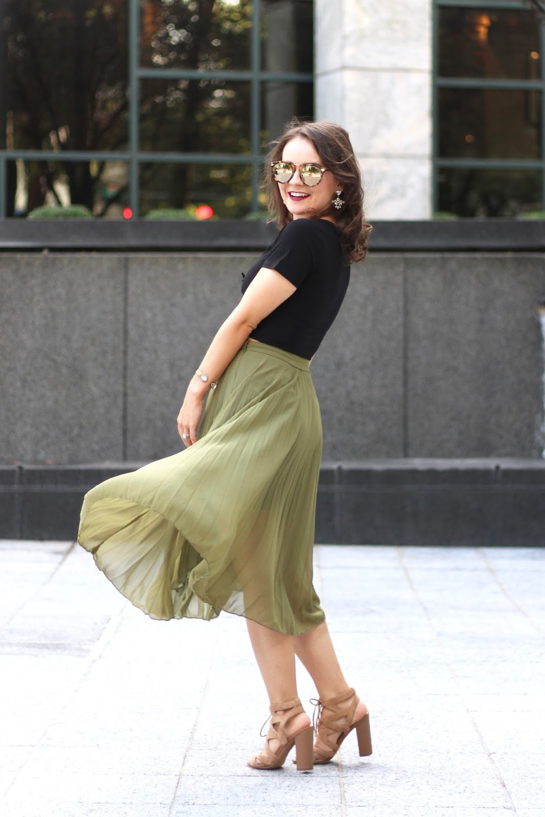 926da0040 Olive Pleated Midi Skirt - Medicine & Manicures
