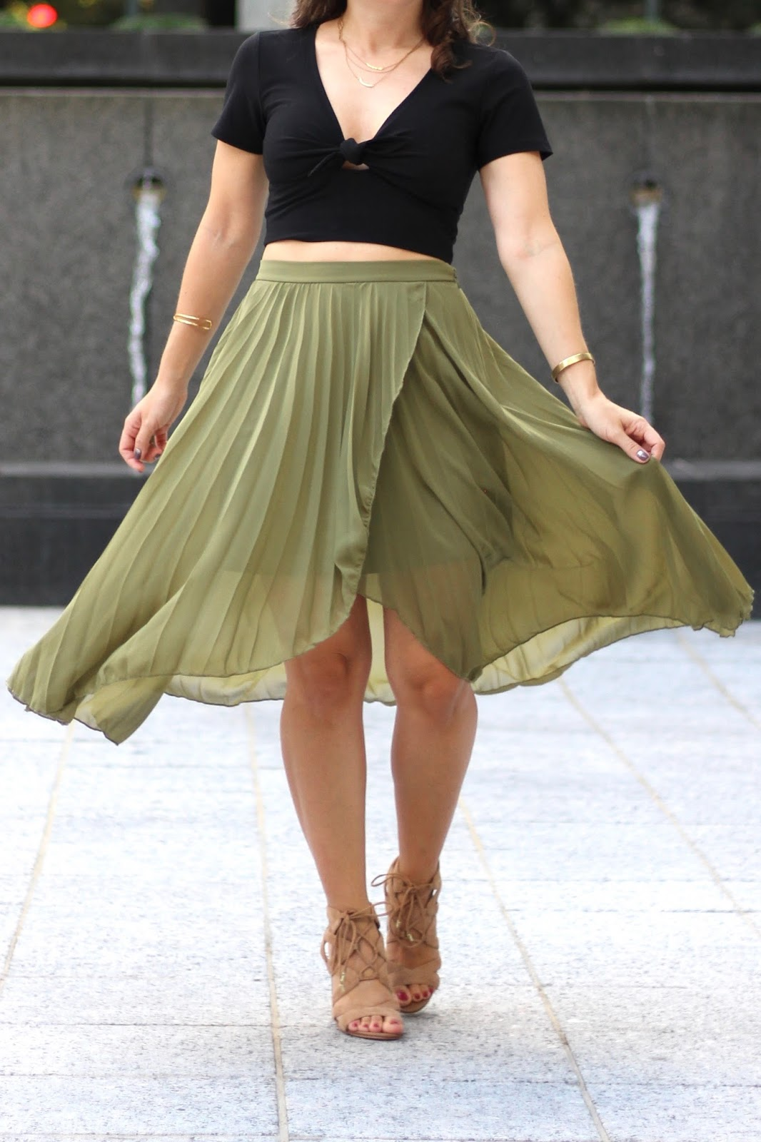 ASOS olive green pleated midi skirt