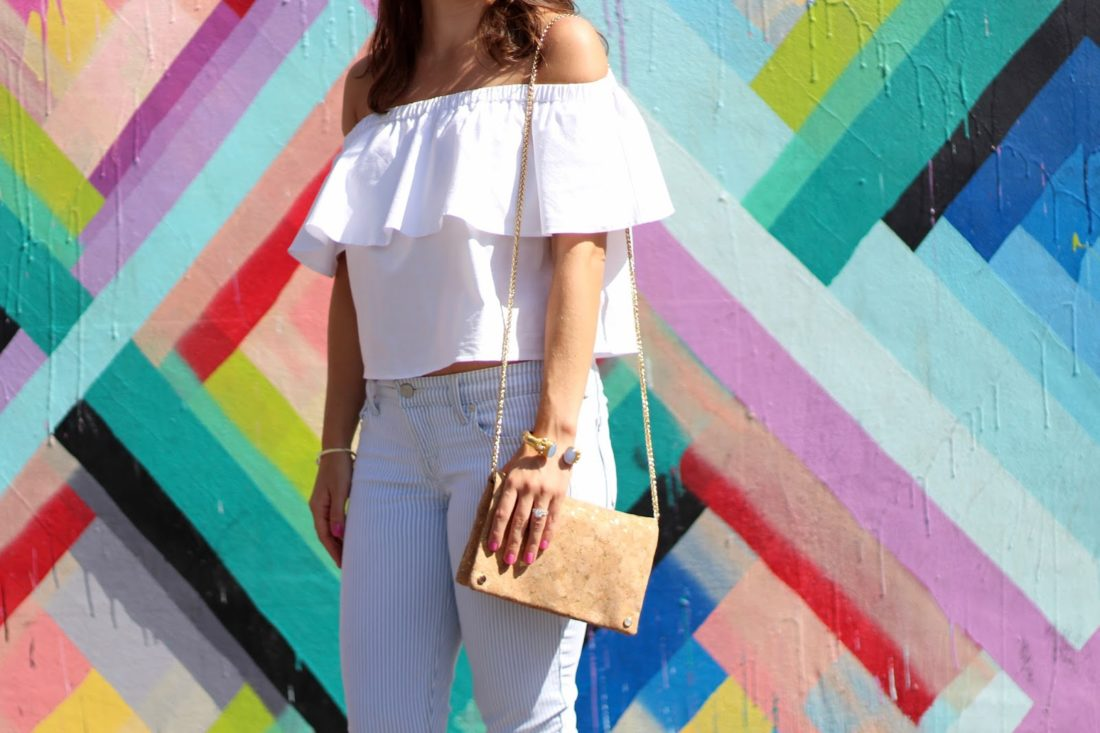 Topshop white off the shoulder top