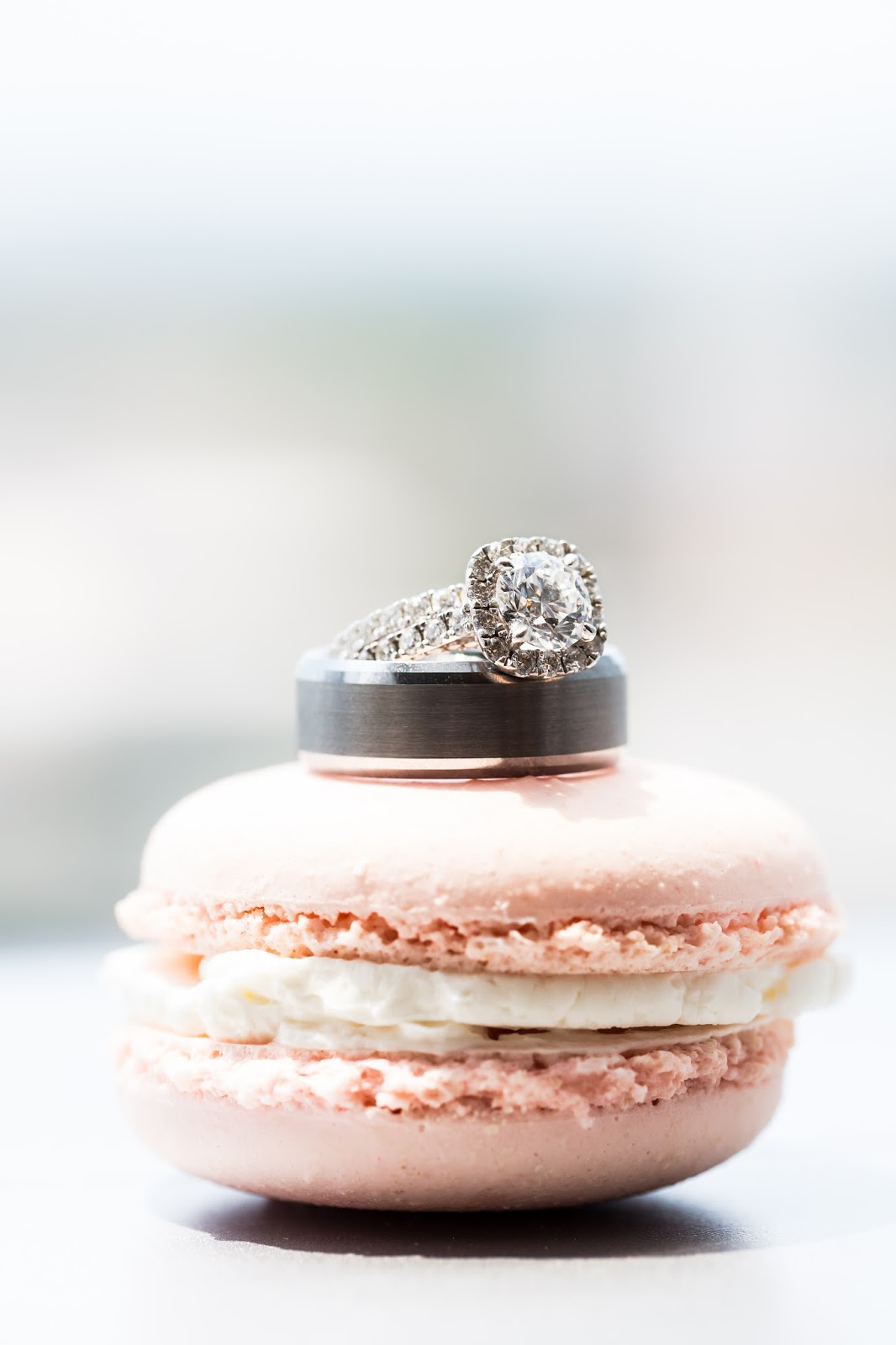 wedding ring on macaron