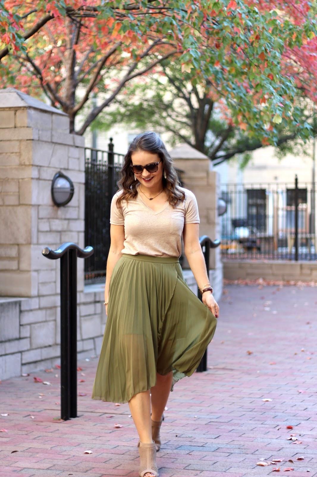 ASOS olive pleated midi skirt