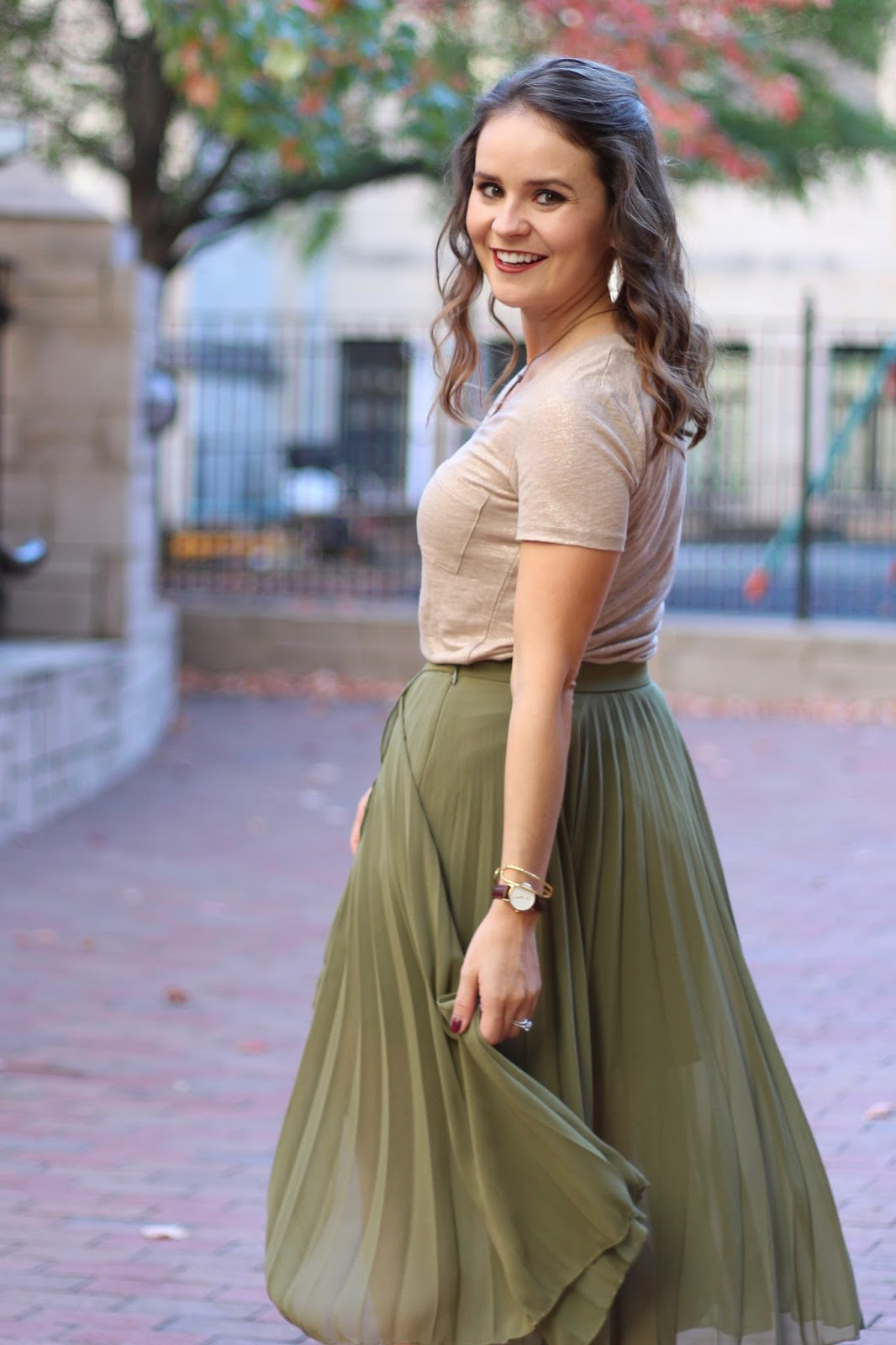 olive pleated skirt
