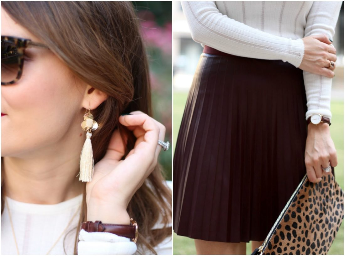 j.crew pleated leather skirt