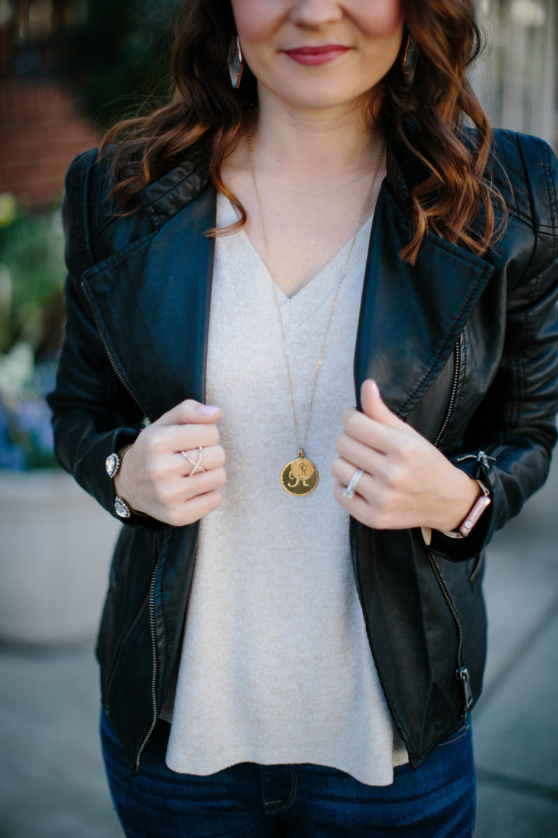 casual outfit leather jacket