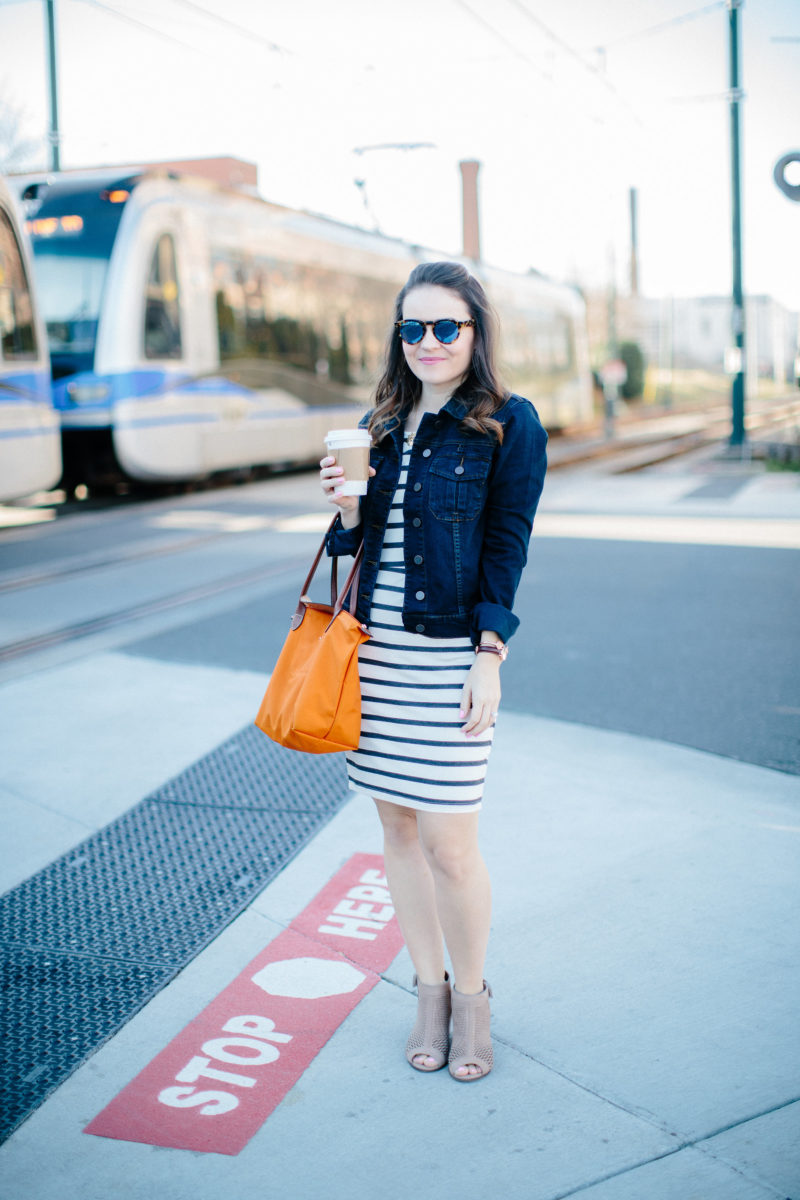 KUT from the Kloth denim jacket, casual spring outfit, Charlotte NC light rail