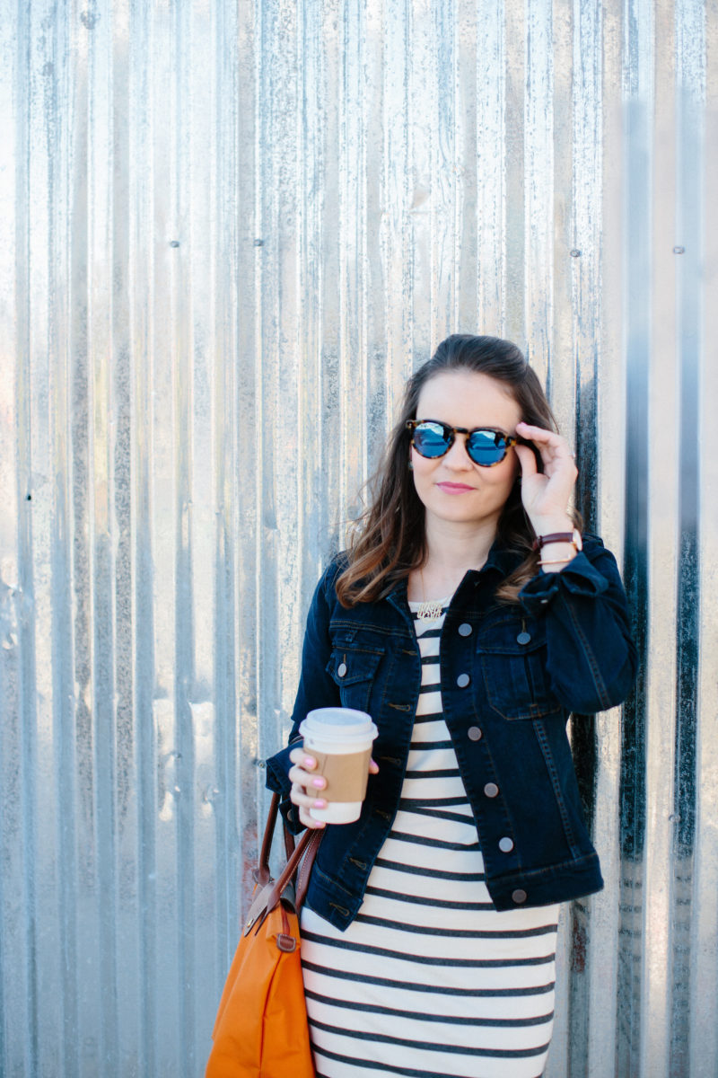 spring outfit under $100, denim jacket and striped dress