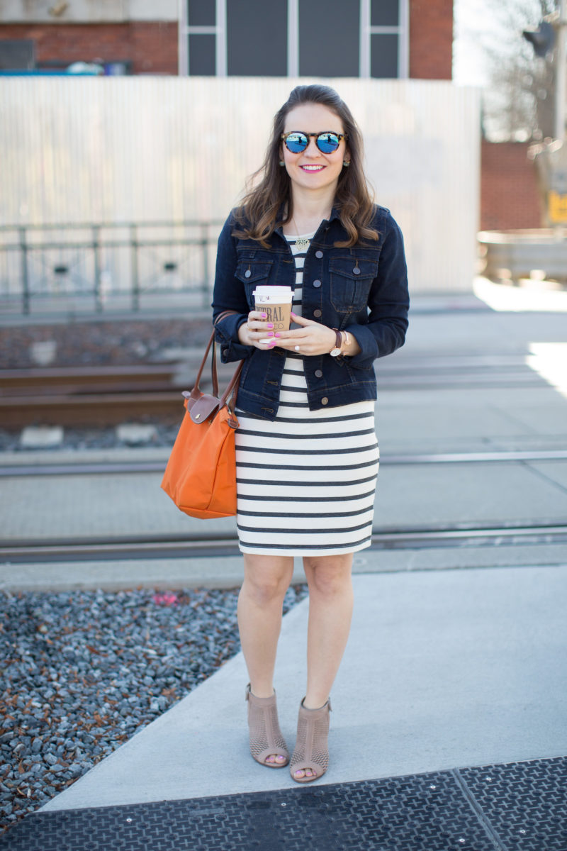 casual spring outfit, KUT from the Kloth amelia denim jacket, denim jacket and striped dress