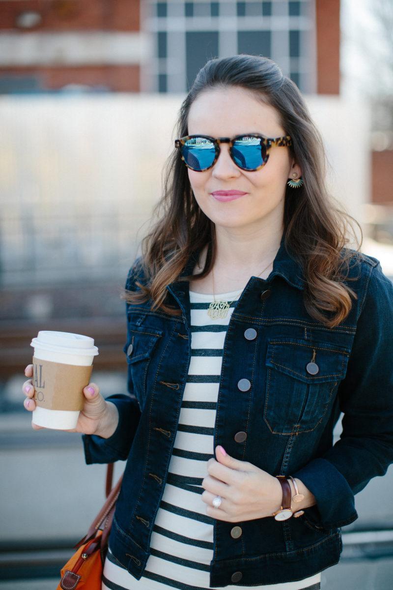 kut from the kloth amelia jacket, striped dress, illesteva leonard sunglasses