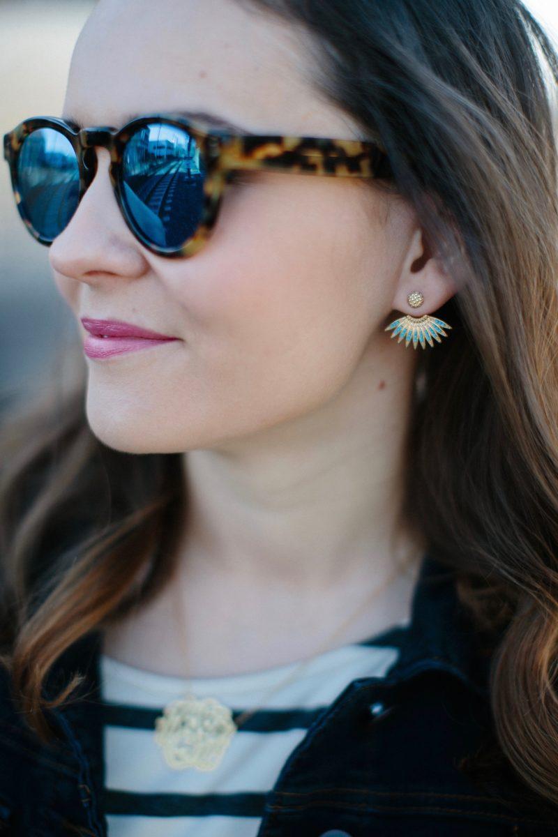 moon & lola marquise studs, illesteva leonard sunglasses