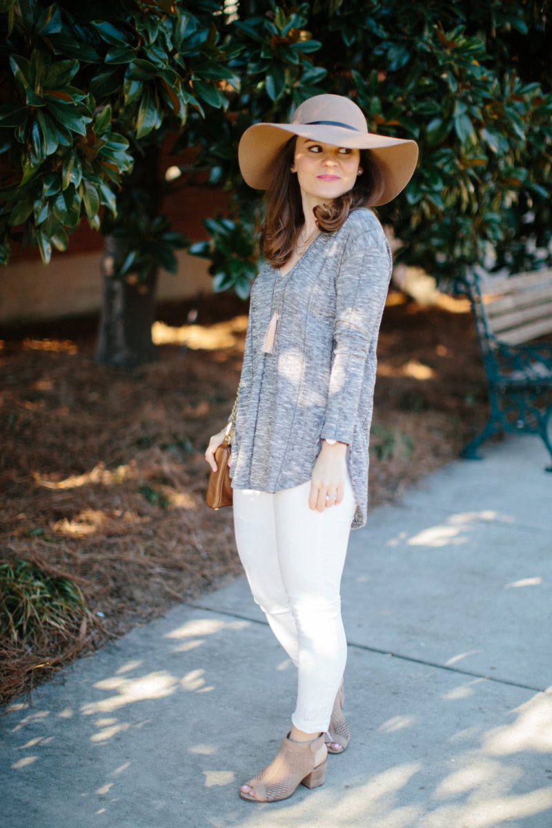 transitional spring outfit, white jeans, vince camuto peep toe booties, neutral spring outfit