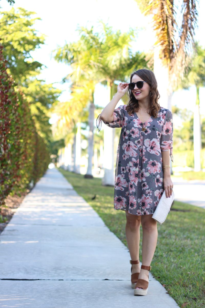 Soprano Jules Split Sleeve Shift Dress, floral dress under $50