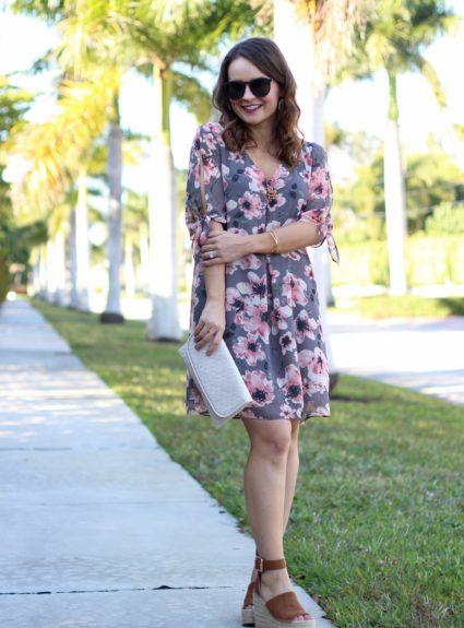 Pink & Grey Floral Dress Under $50