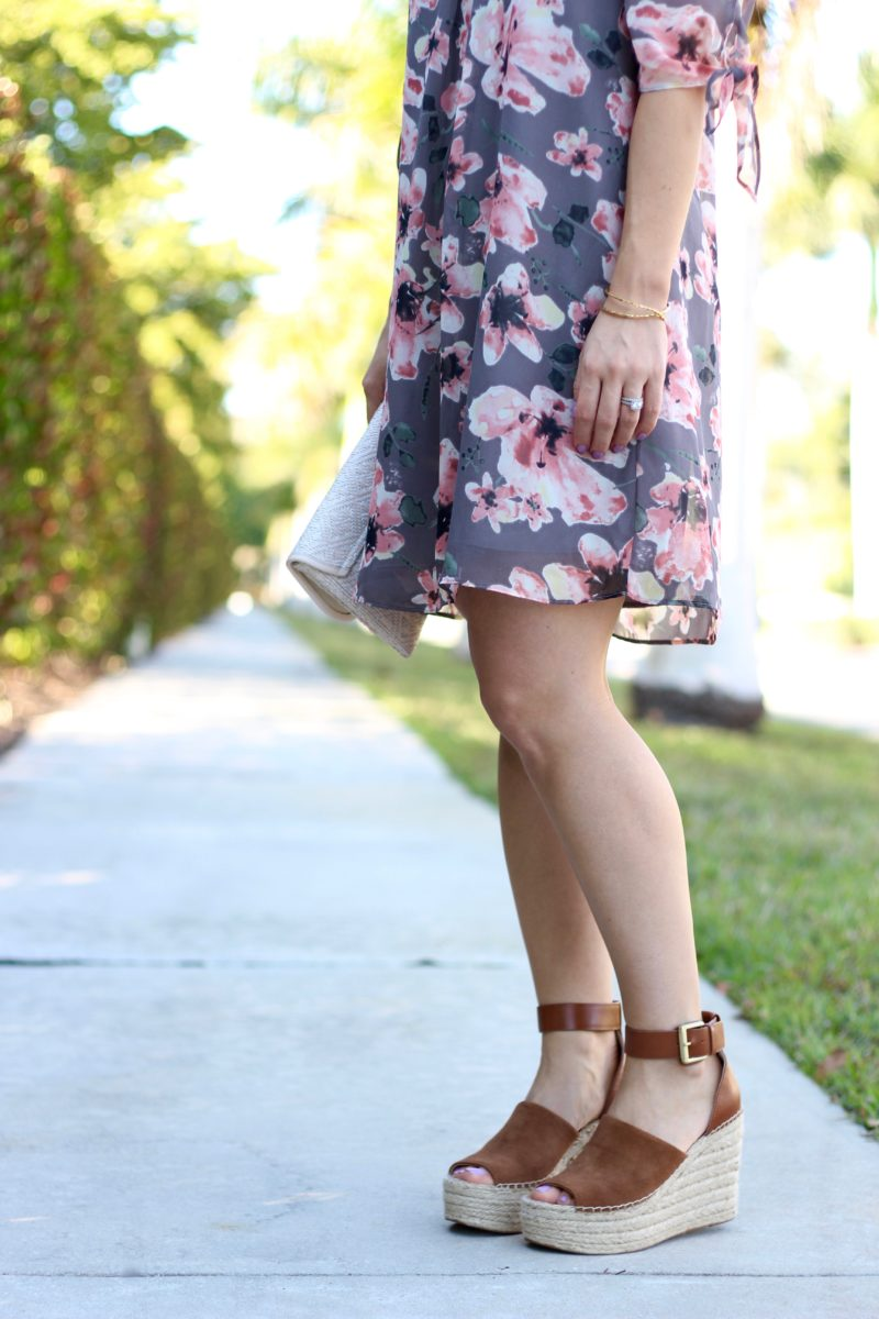 Soprano Jules Split Sleeve Shift Dress, Marc Fisher Adalyn espadrilles, spring floral dress