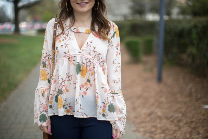 Sun & Shadow floral print bell sleeve blouse
