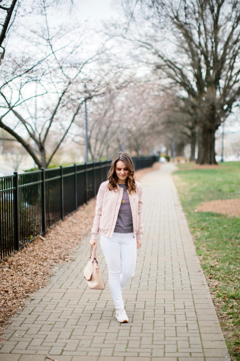 blush bomber jacket, casual spring outfit