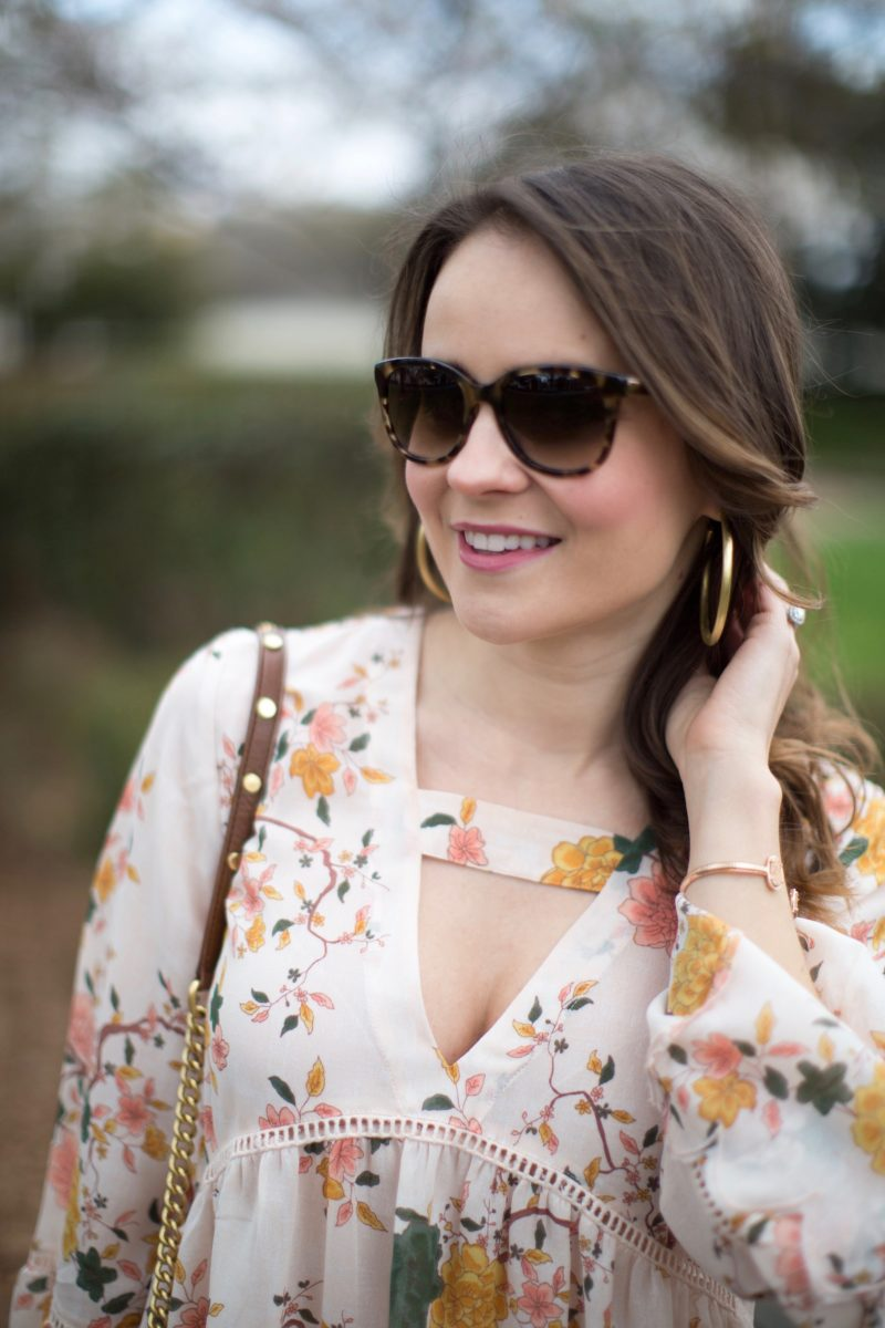 floral print bell sleeve top, Sheila Fajl hoop earrings