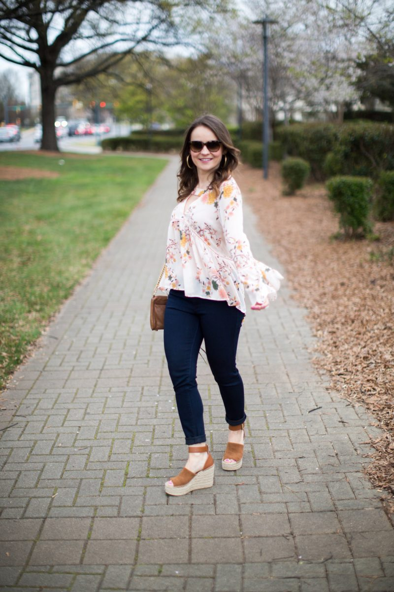 floral spring outfit, Marc Fisher wedges