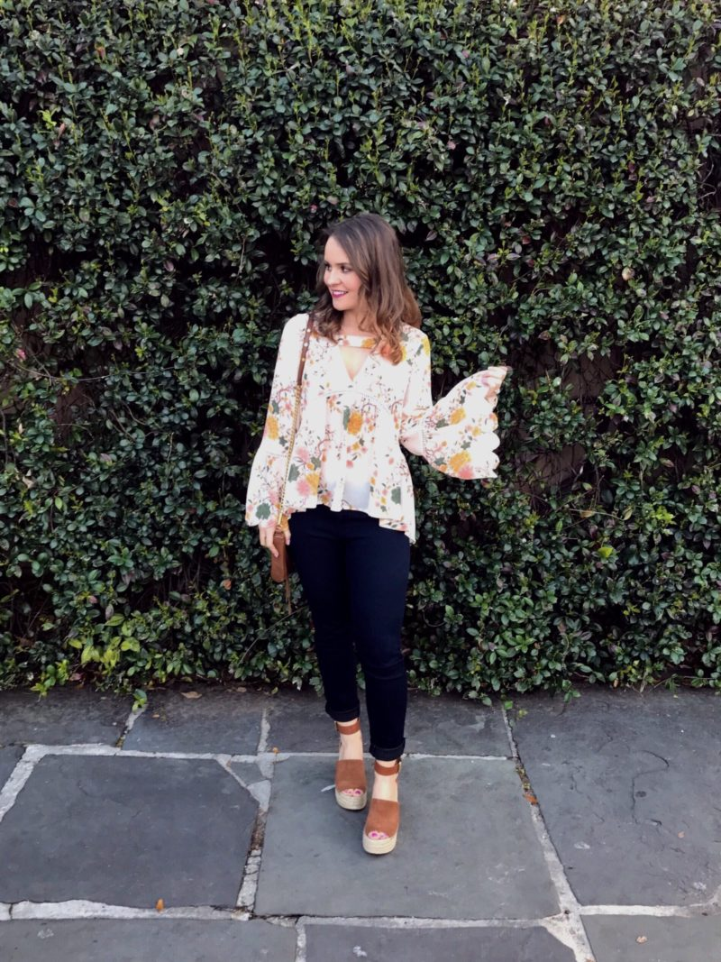 sun & shadow floral bell sleeve top, marc fisher adalyn espadrilles