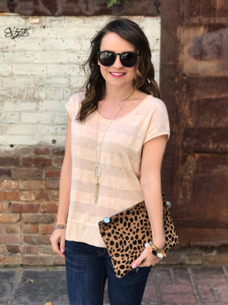 Lilla P scoop neck pullover, casual spring style, Clare V leopard clutch