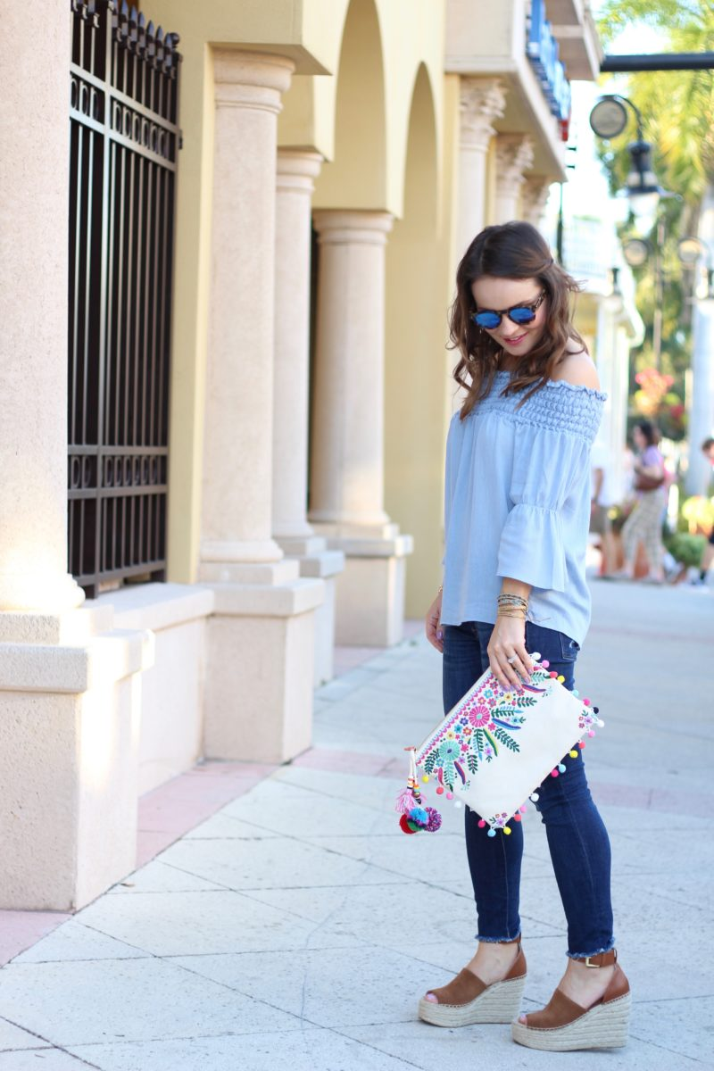 spring outfit under $100, steve madden embroidered clutch