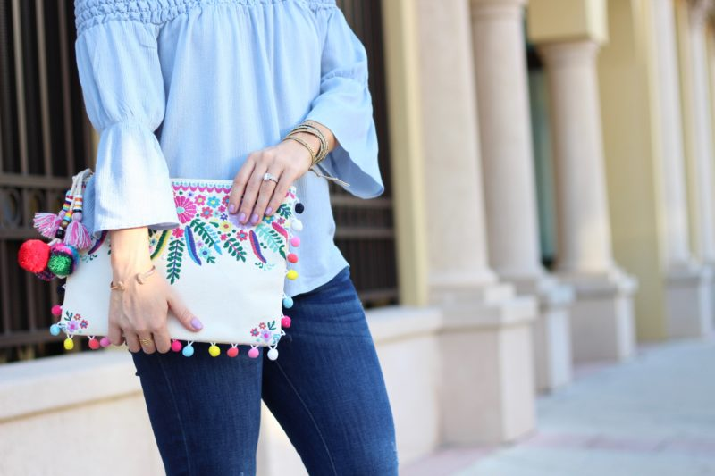 steve madden embroidered clutch, pom pom clutch