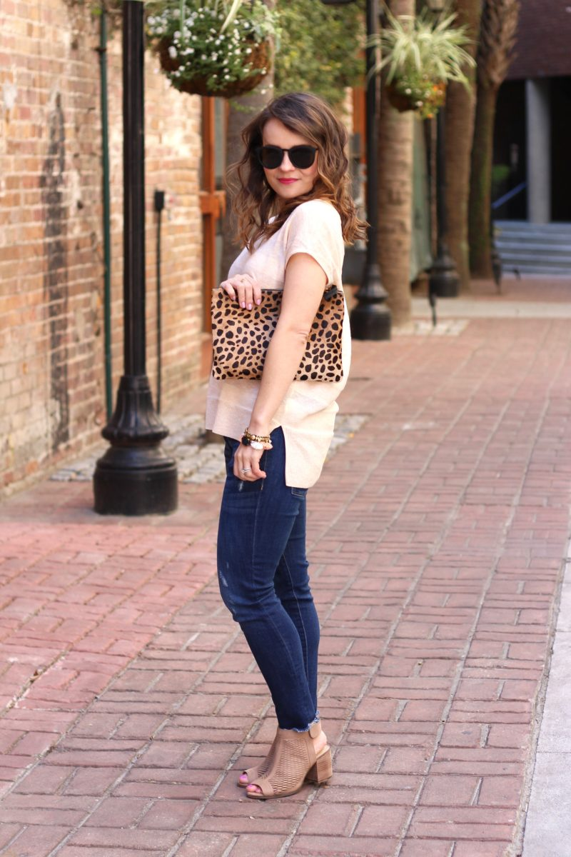 leopard clutch, neutral outfit