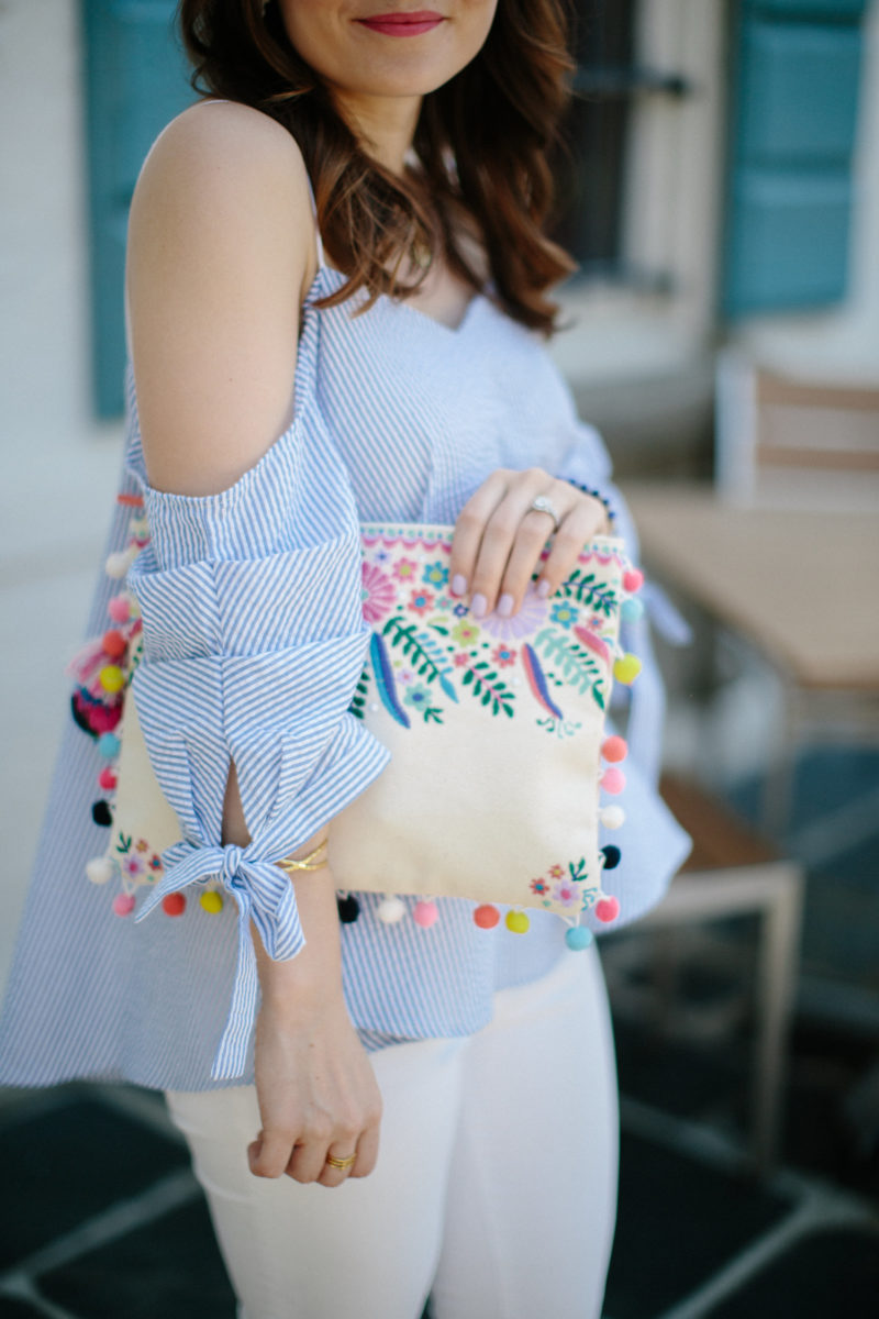 seersucker cold-shoulder top, steve madden pom pom clutch