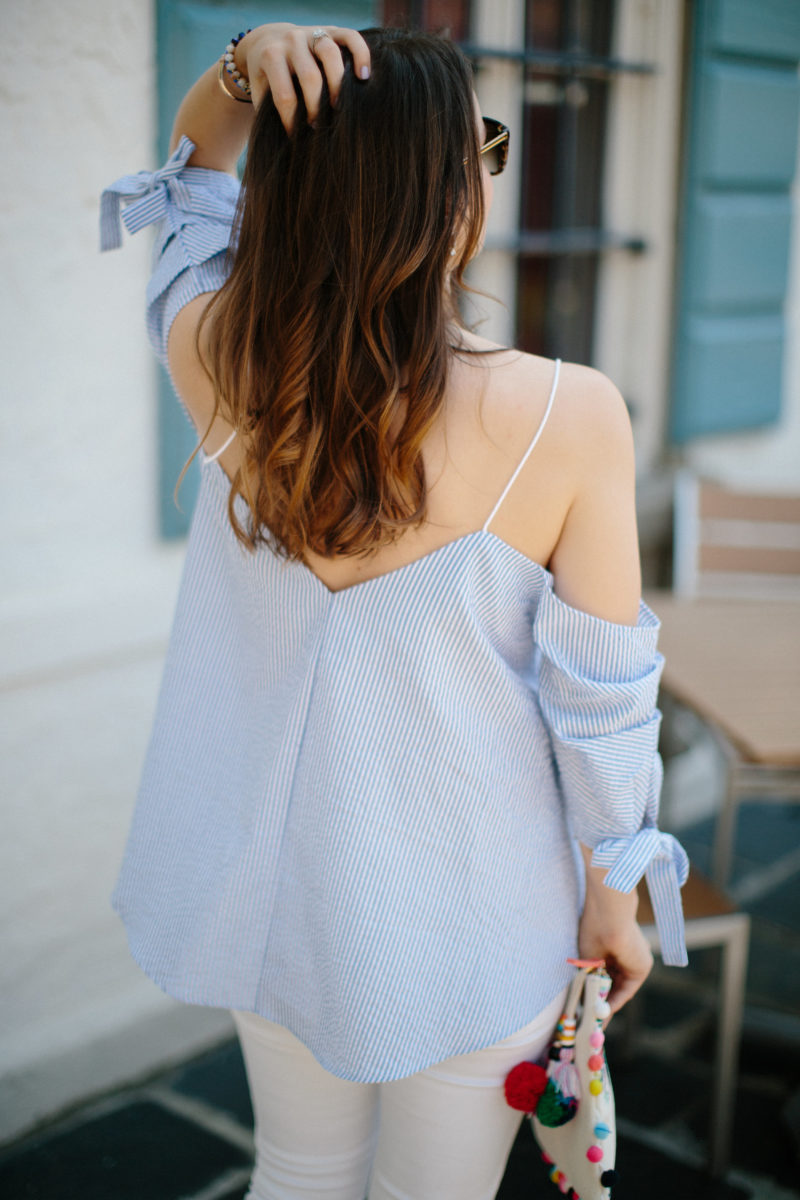 seersucker cold-shoulder tie-sleeve top