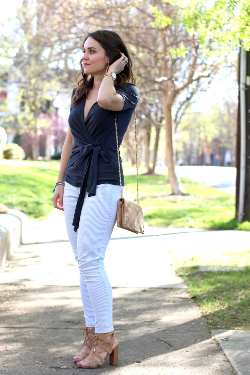 BP wrap tee, grey wrap top, spring outfit
