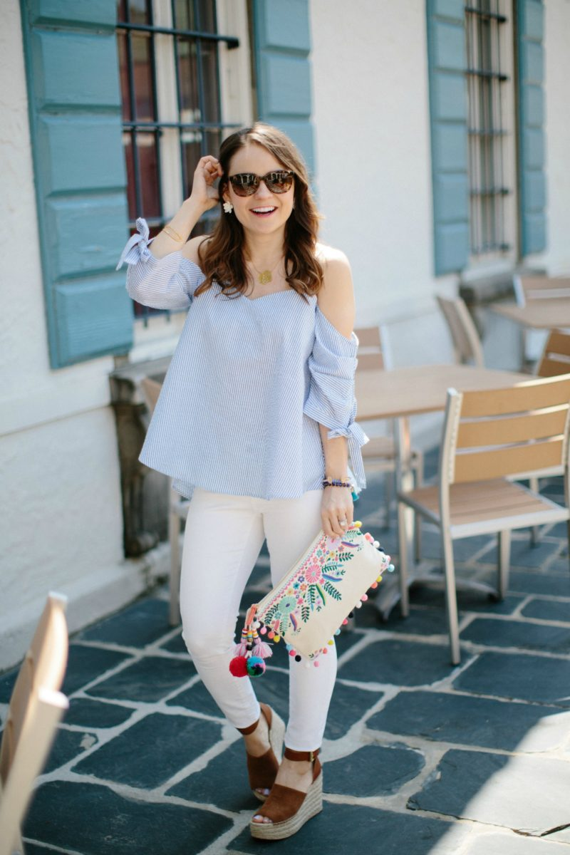 seersucker cold-shoulder tie-sleeve top, casual spring outfit