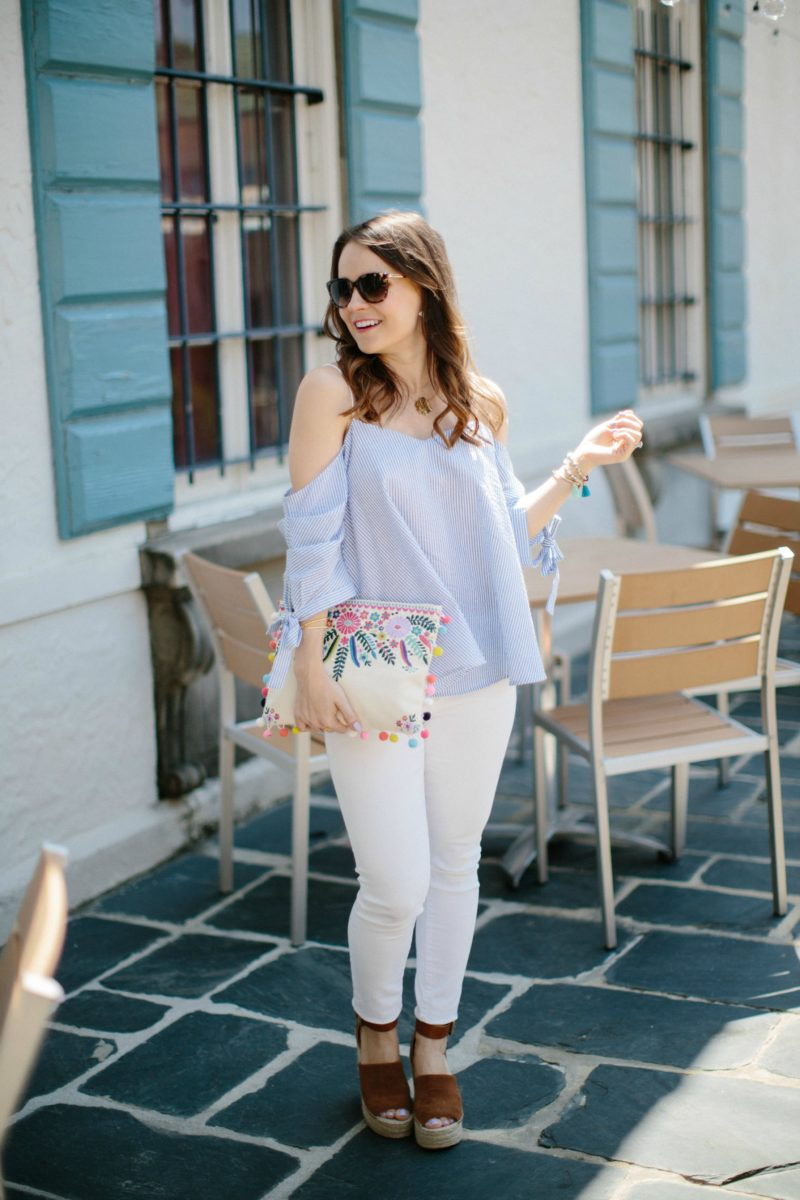 seersucker cold-shoulder tie-sleeve top, spring outfit