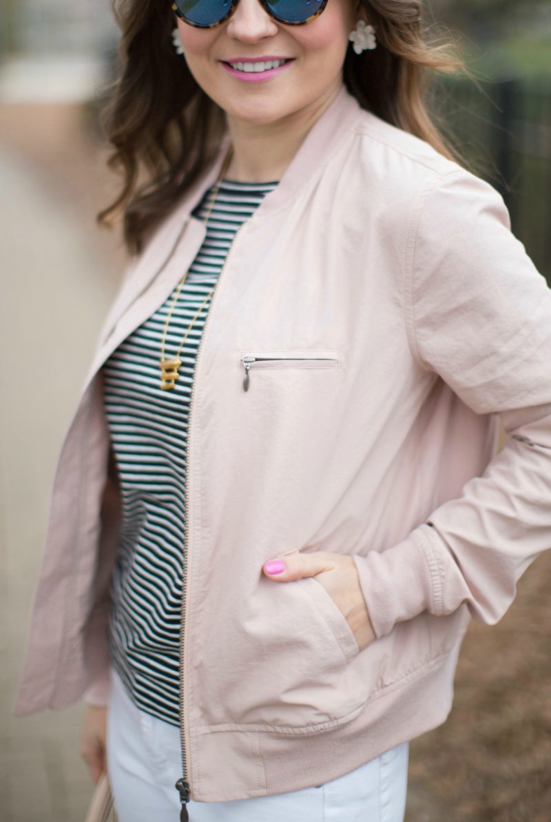 blush bomber jacket, striped tee, spring outfit