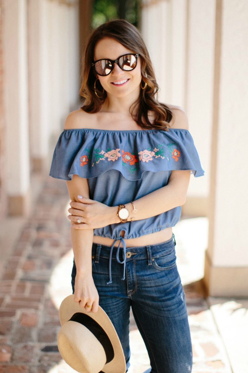 Everly off the shoulder crop top, embroidered chambray top