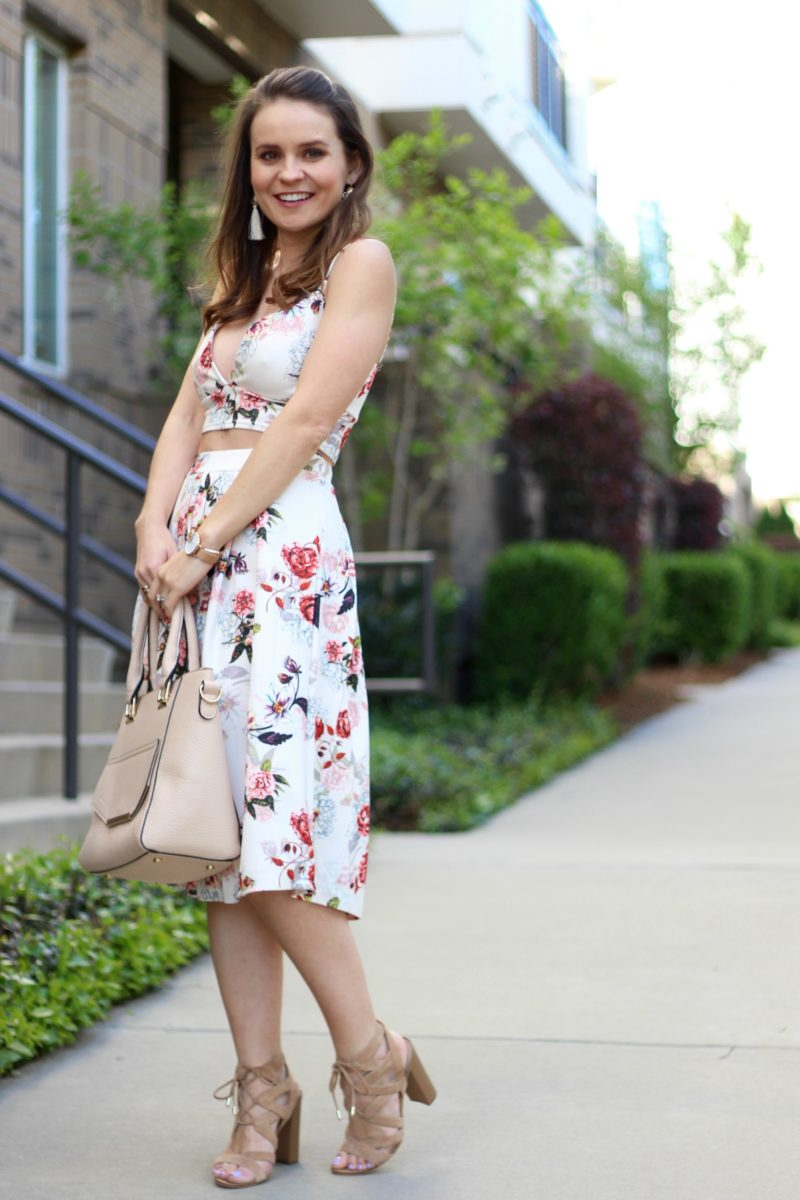 floral two piece set, floral midi dress