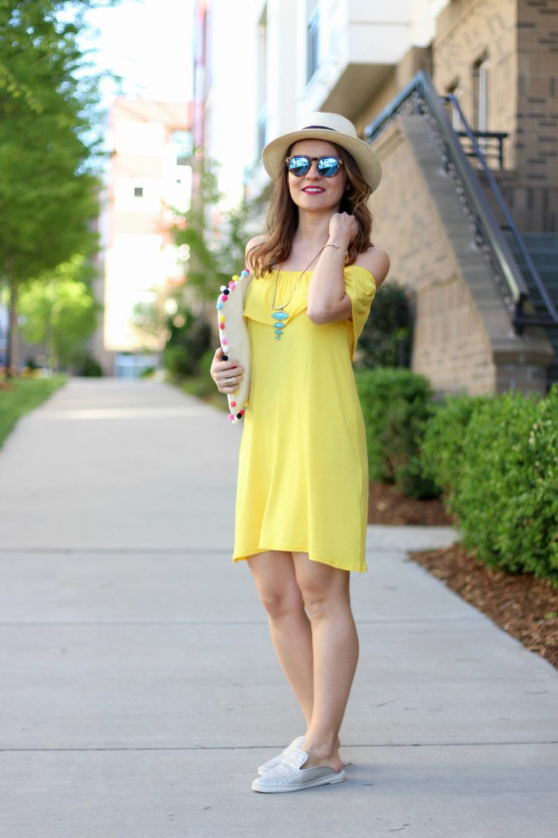 yellow summer dress, kendra scott turquoise necklace