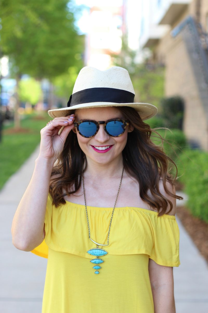 Illesteva leonard sunglasses, off the shoulder dress, panama hat