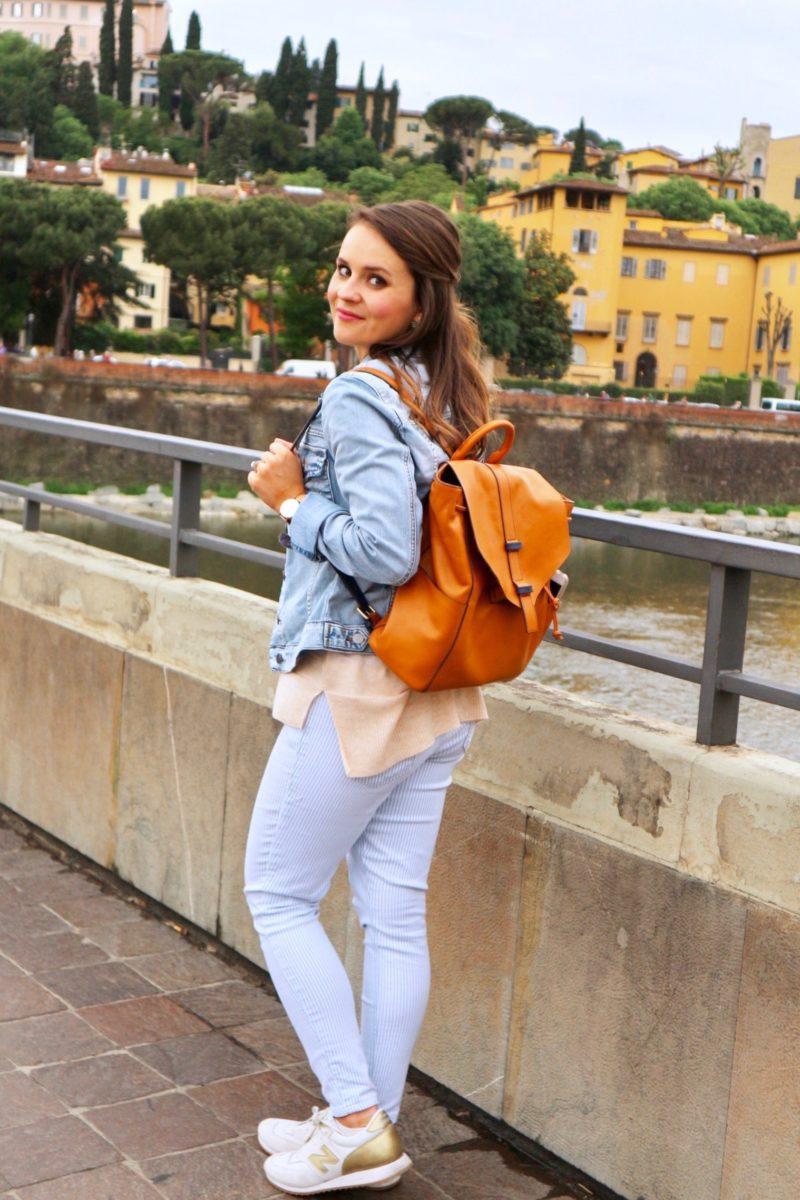 Vera Bradley big sky backpack, Florence travel outfit
