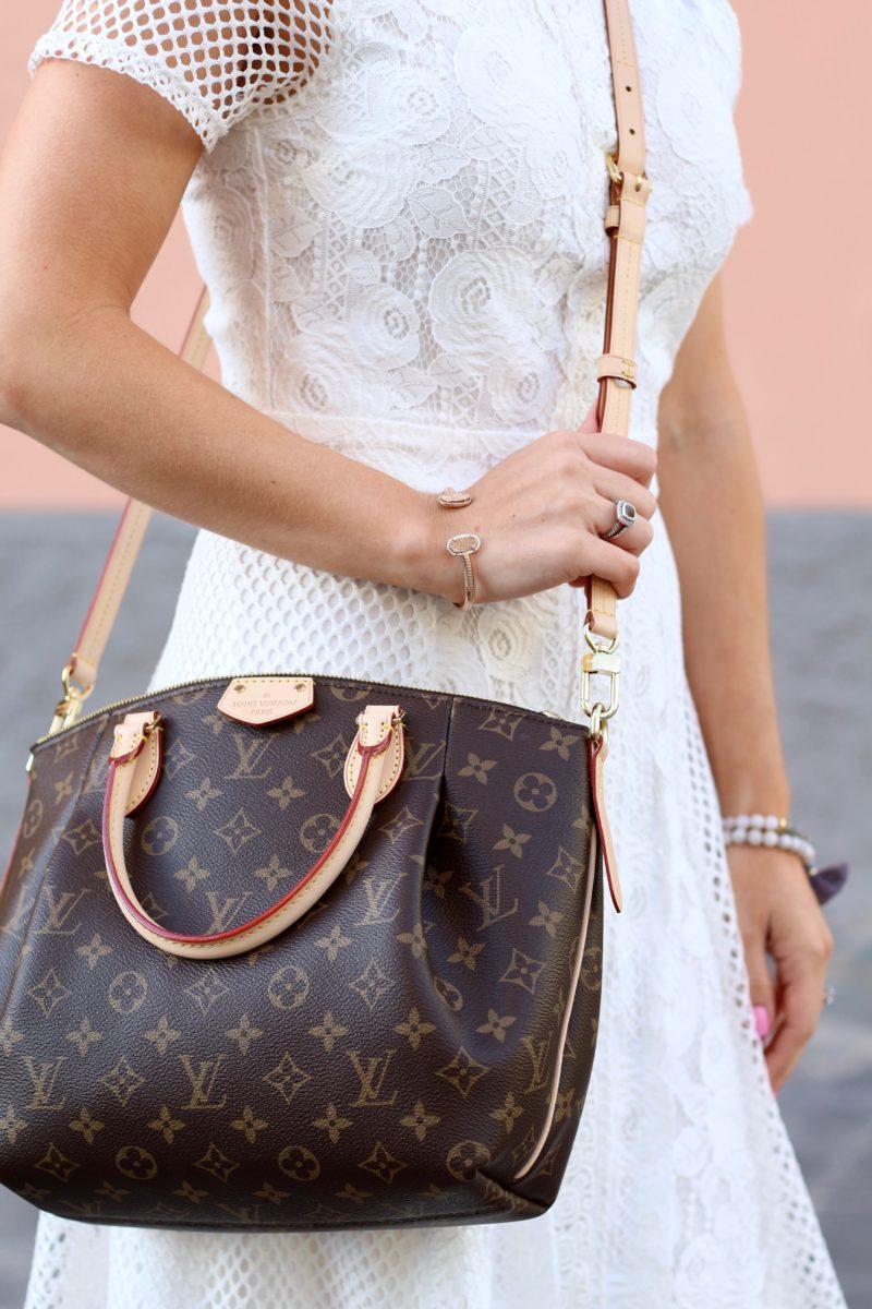 Louis Vuitton Turenne PM, white lace dress